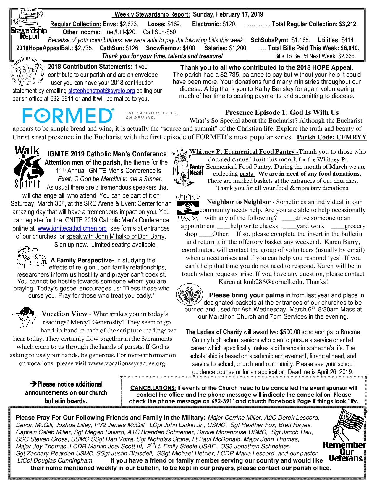 CCSSSP Church Bulletin – February 24, 2019 – Catholic Community of