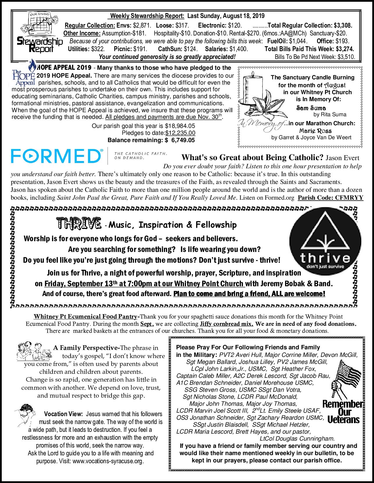 CCSSSP Church Bulletin – August 25, 2019 – Catholic
